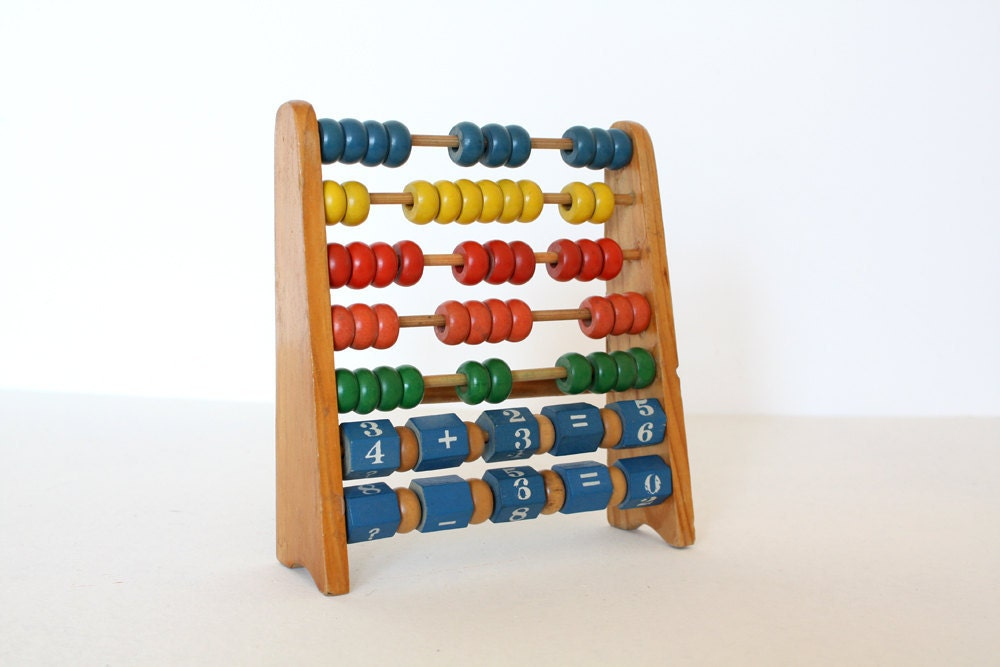 Vintage wooden abacus with letters and numbers