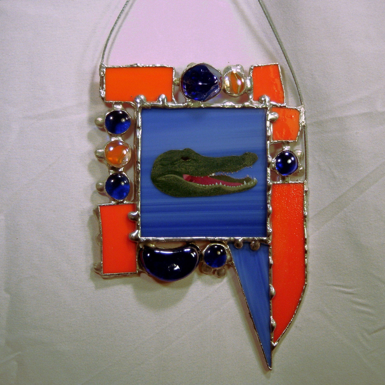 Gator Orange Blue Sun Catcher Stained Glass Handmade