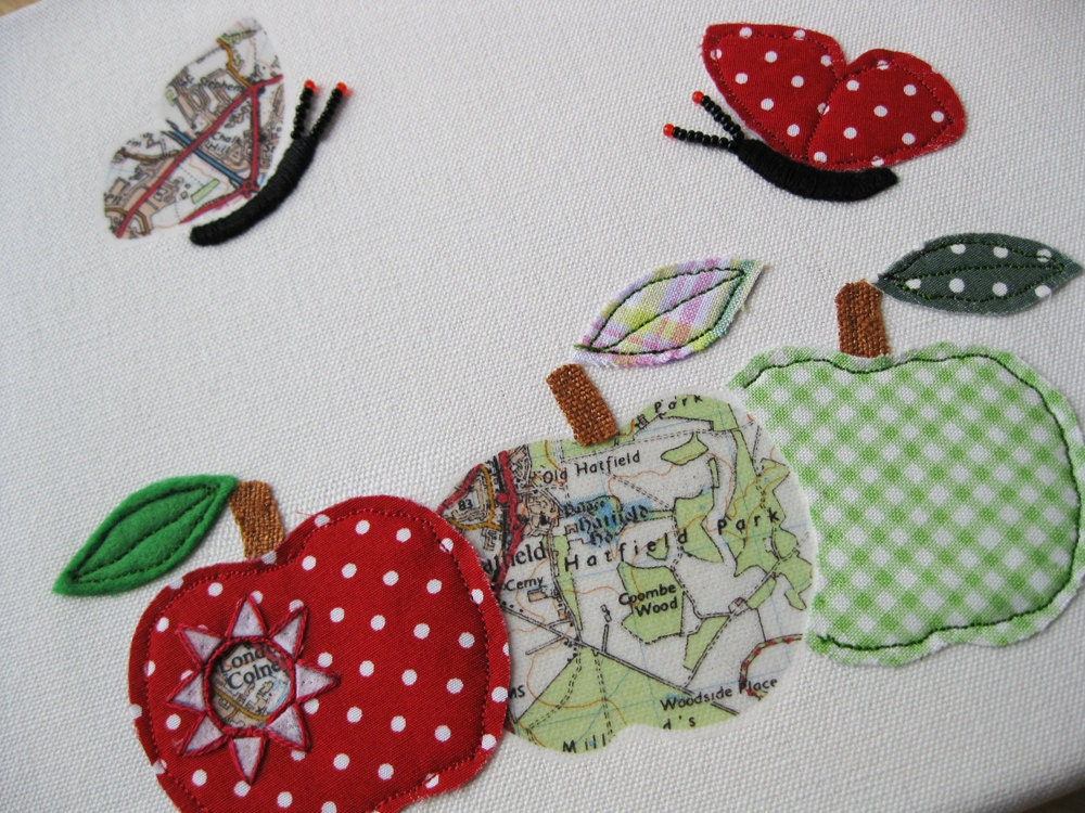 Textile Canvas  'Where's the Caterpillar' Summer Home Decor, British Cottage Shabby Chic, Kitchen Decor.