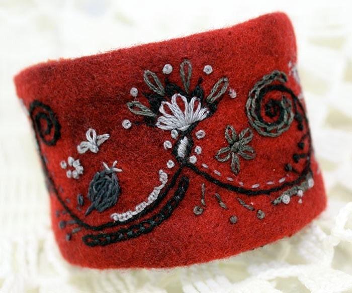 Garnet Wrist Cuff Jacobean Fantasy Wool Felt Hand Embroidered Bracelet - Waterrose