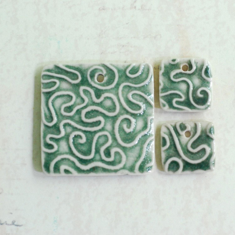 Brain Coral Texture Ceramic Pendant Set in OOAK Green Glaze