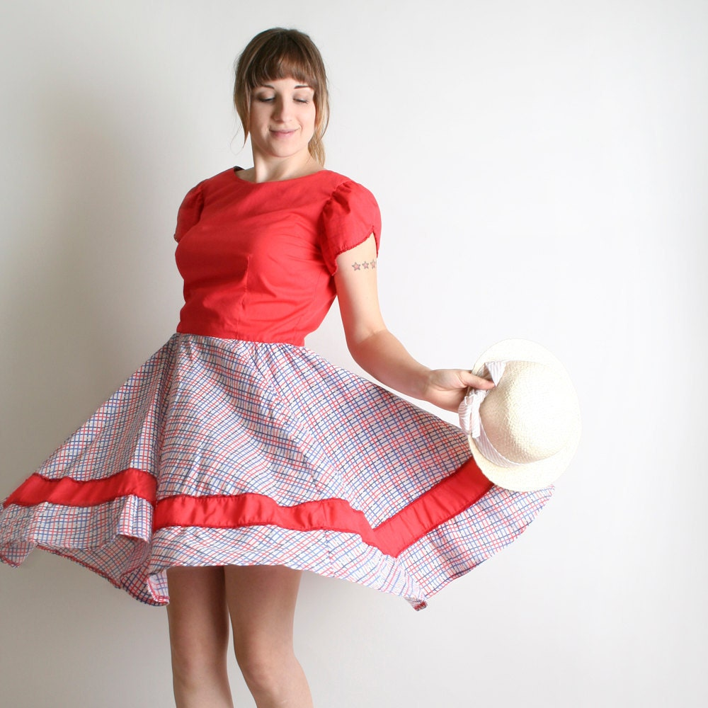 Vintage Lolita Dress - Square Dance Full Circle Skirt in Plaid - Medium