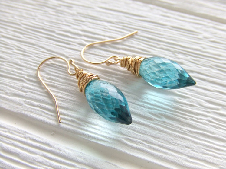 Teal Blue Peacock Marquise Briolette 14K Gold Filled Earrings, Jewelry Gemstone,  Wire Wrapped Dangles, Gift for Her, Wedding - LycheeKiss
