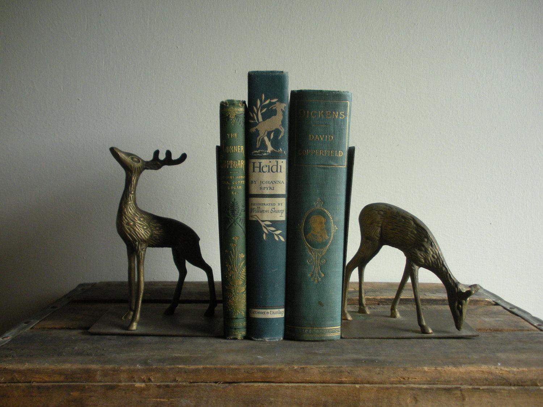 ON HOLD Vintage Metal Deer Book Ends