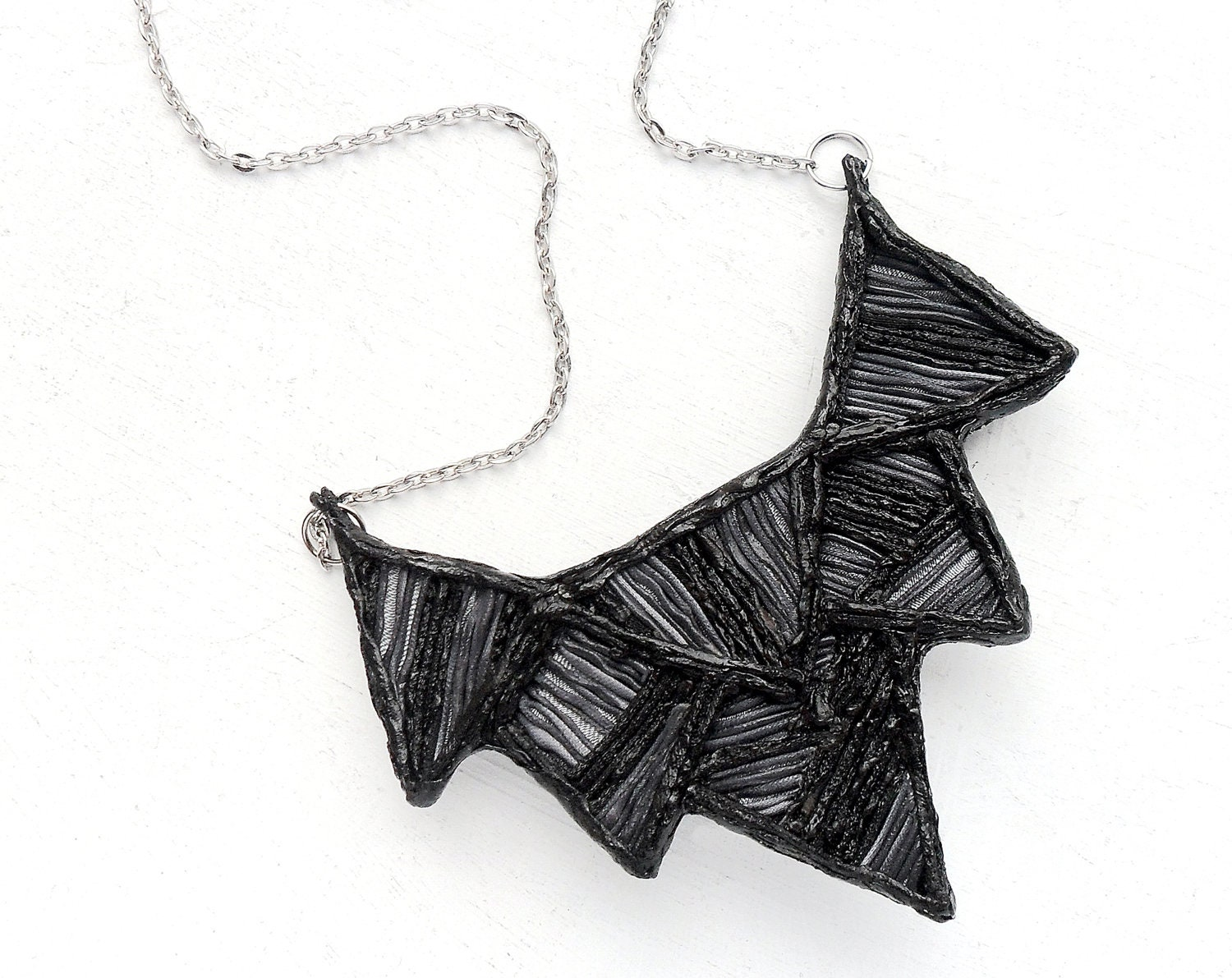 Gray and black triangle necklace - silver and black fabric necklace, statement necklace, geometric necklace, women jewelry, chevron necklace - OsikOsik