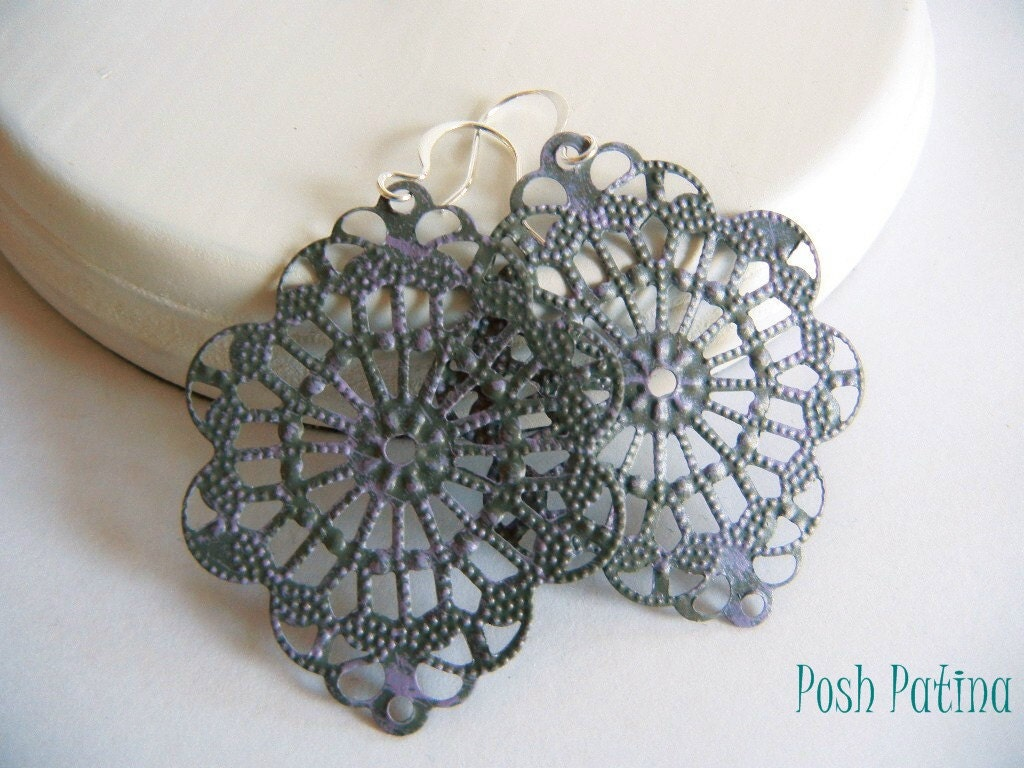 Shabby Chic Gray and Lilac Hand Painted Filigree Earrings - PoshPatina