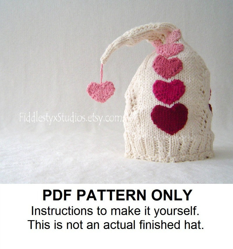 KNITTING PATTERN - Girls Valentines Day Pixie Hat - Knit Baby Hat PATTERN (Newborn, Infant, Toddler, Child sizes) Children Clothing Pattern