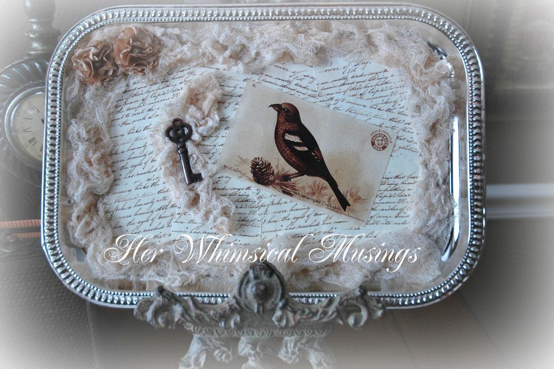 Потертый Chic декора, птица лоток, казначейские пункта, гнездования, коттедж декора, потертый шик декор дома