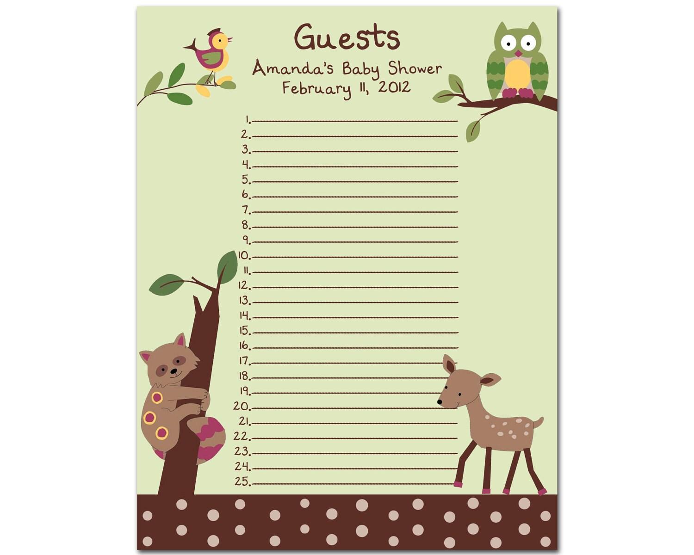 guest list template http www smartlistguide com baby shower guest list ...