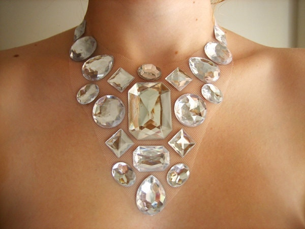 Statement Rhinestone Drag Fashion Jewelry, Sophisticated Spring Wedding Bridal Floating Gem Necklace