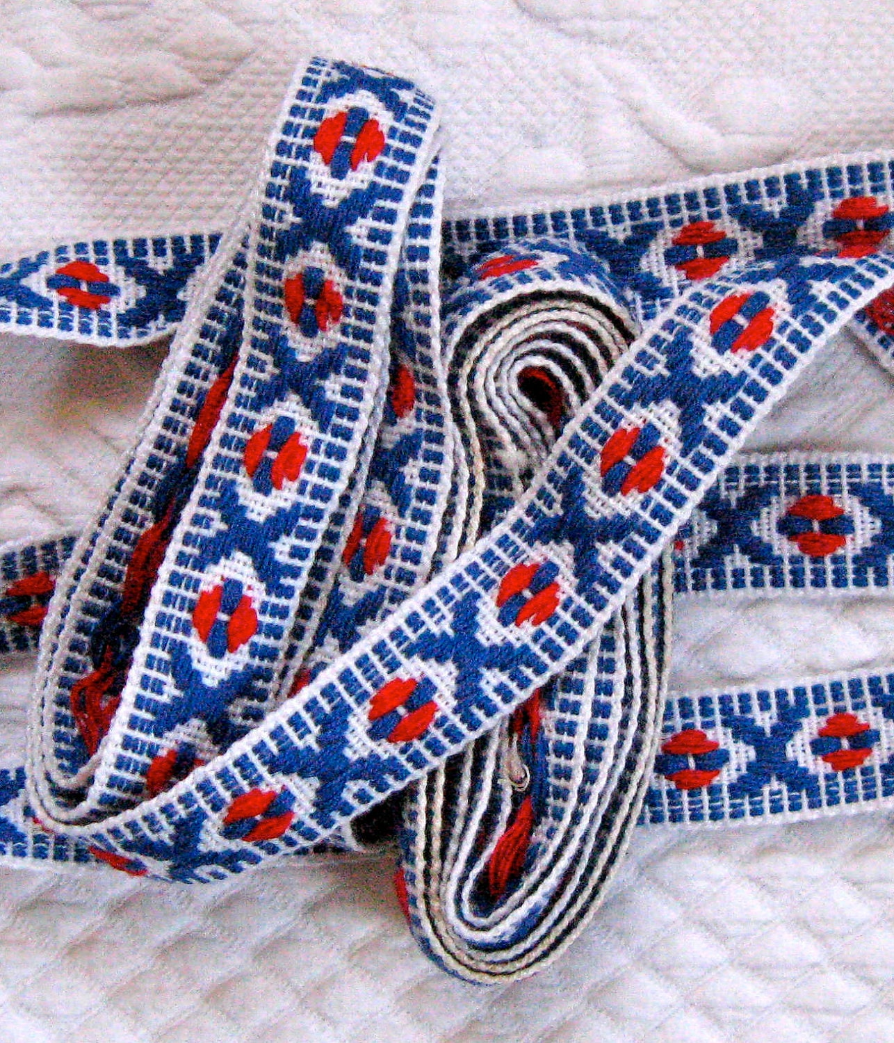 Vintage WOVEN TRIM Red White and Blue 1950s