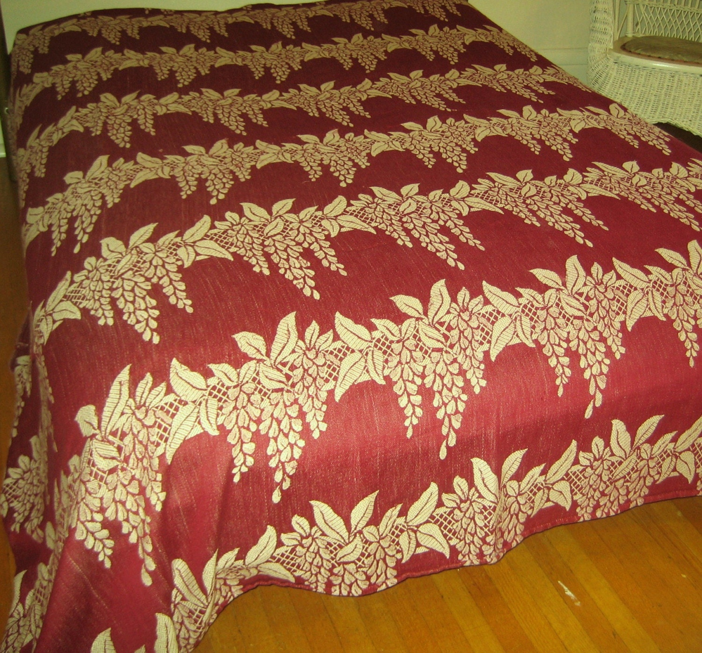 Vintage  bedspread  woven cotton 1940s  garnet Wisteria