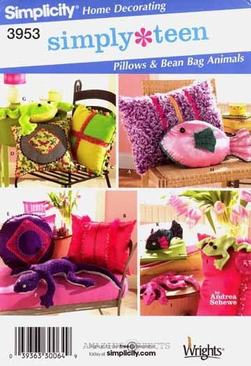 Sewing Pattern Simplicity 3953 Pillows and Bean Bag Animals Uncut Complete