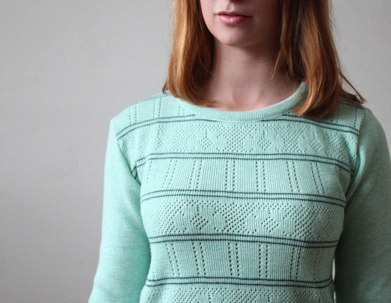 1970's mint eyelet sweater - Thrush