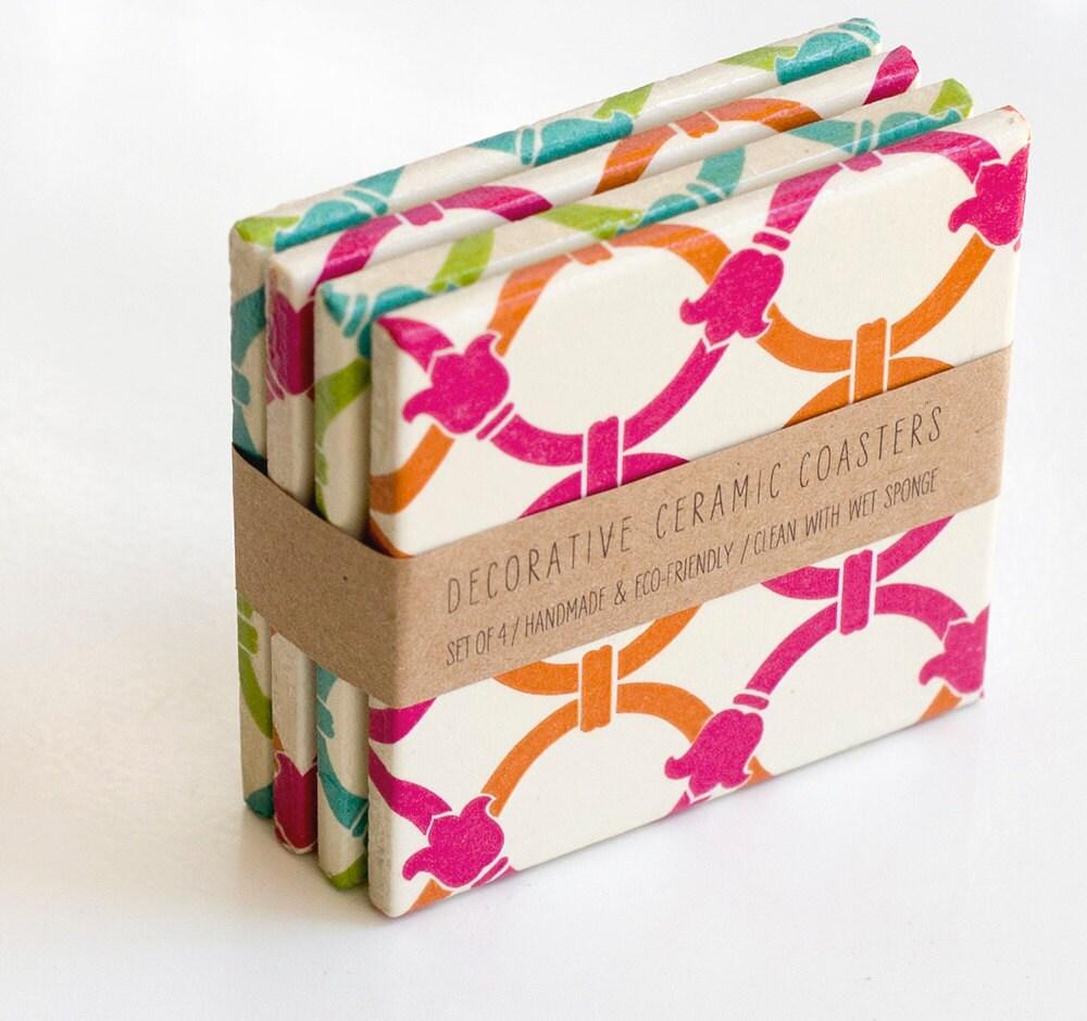 Coaster, Ceramic coasters, Color block bangles, set of 4