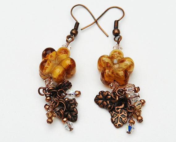 Brown Glass Flower and Swarovski Crystals Earrings - SFBeads