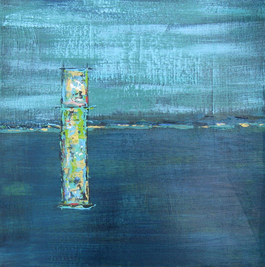 Turquoise Abstract Painting, lime green, original, OOAK, modern home decor, acrylic, 24x24, contemporary - BrookeHowie