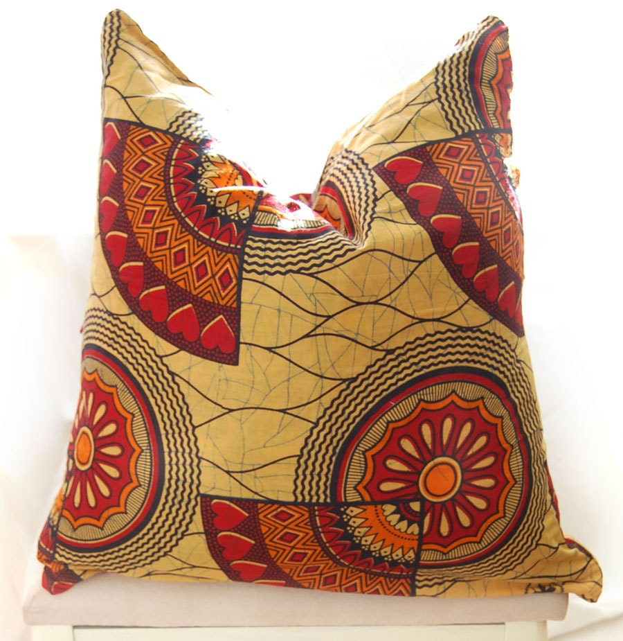 African print cushion cover - Orange & Red 'Love Heart Motif' - large - RoseandRina
