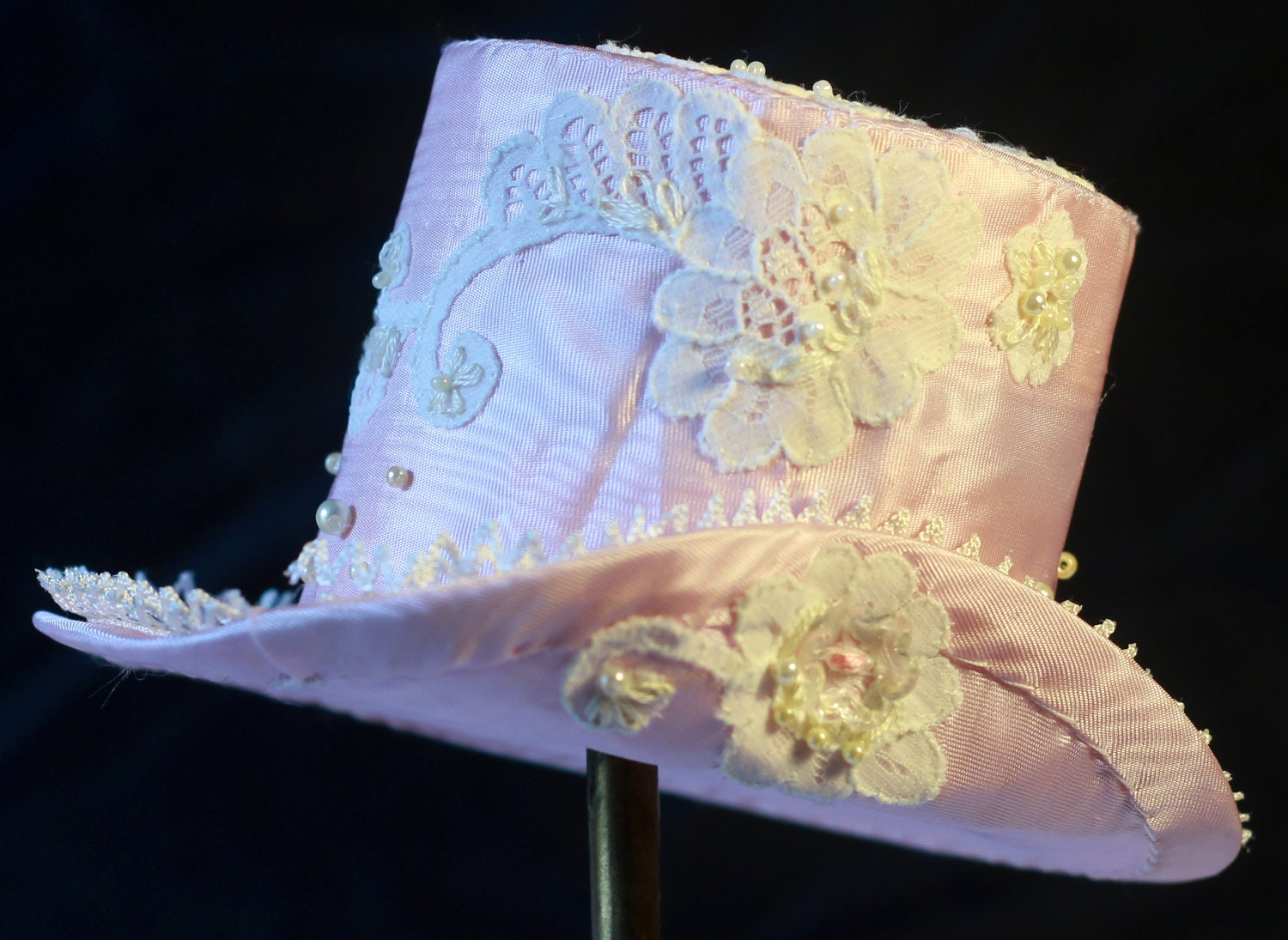 Pink and White Mini Top Hat