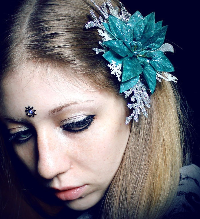 Winter Fairy Poinsettia Clip, blue frost, Christmas, magic, ice, snowflake, silver, fascinator, tribal fusion, bellydance, gypsy, fae, wicca
