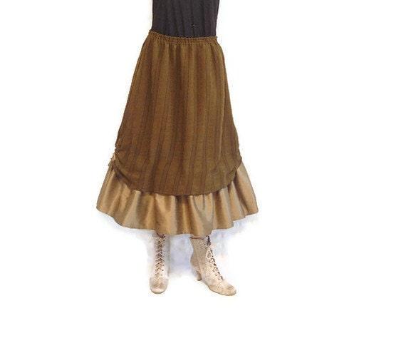 Boho Skirt Prairie Skirt Dark Olive Green Black Stripes Ruffled Elastic Waist Plus Size