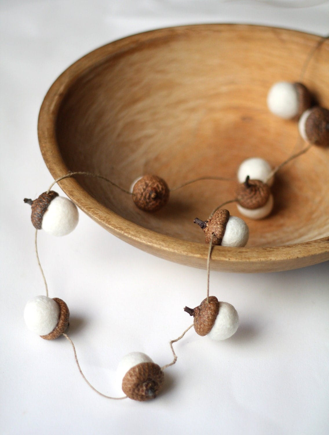 Felted Acorn Garland  - ten handfelted acorns on hemp string - delica