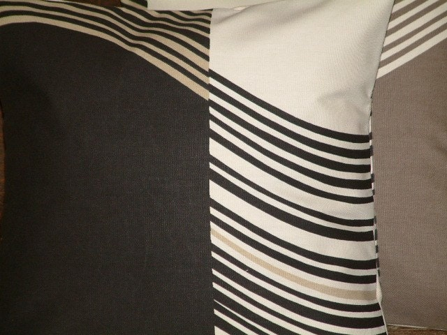 Two New 16 inch Handmade Contemporary Black by MARIESCOSYCUSHIONS