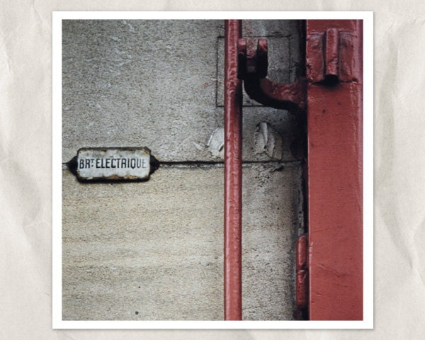 electique electricity plaque photography, 5x5 print, red, burgundy, auburn, ecru, grey, gray, taupe, wall, urban chic, industrial, shabby - bialakura