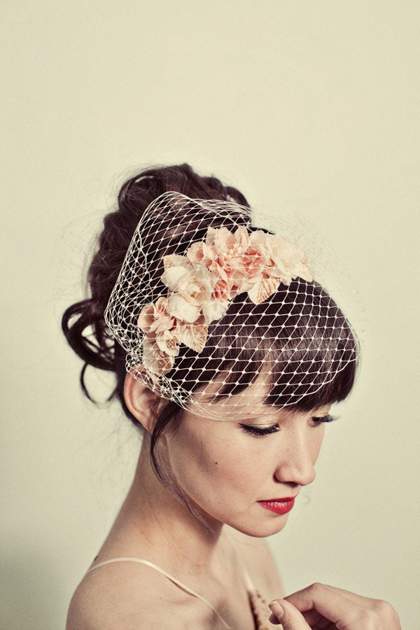 Handmade flowers headband with birdcage veil overlay- style 120