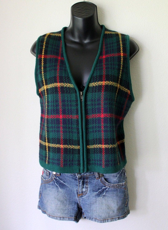 Vtg sweater Vest KNIT plaid 90s prep GAP tartan waistcoat S
