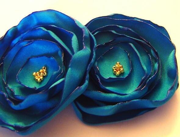 Dark Malibu Blue Matte Satin Rose Peony Poppy Pins Bobby pin Bridal Set