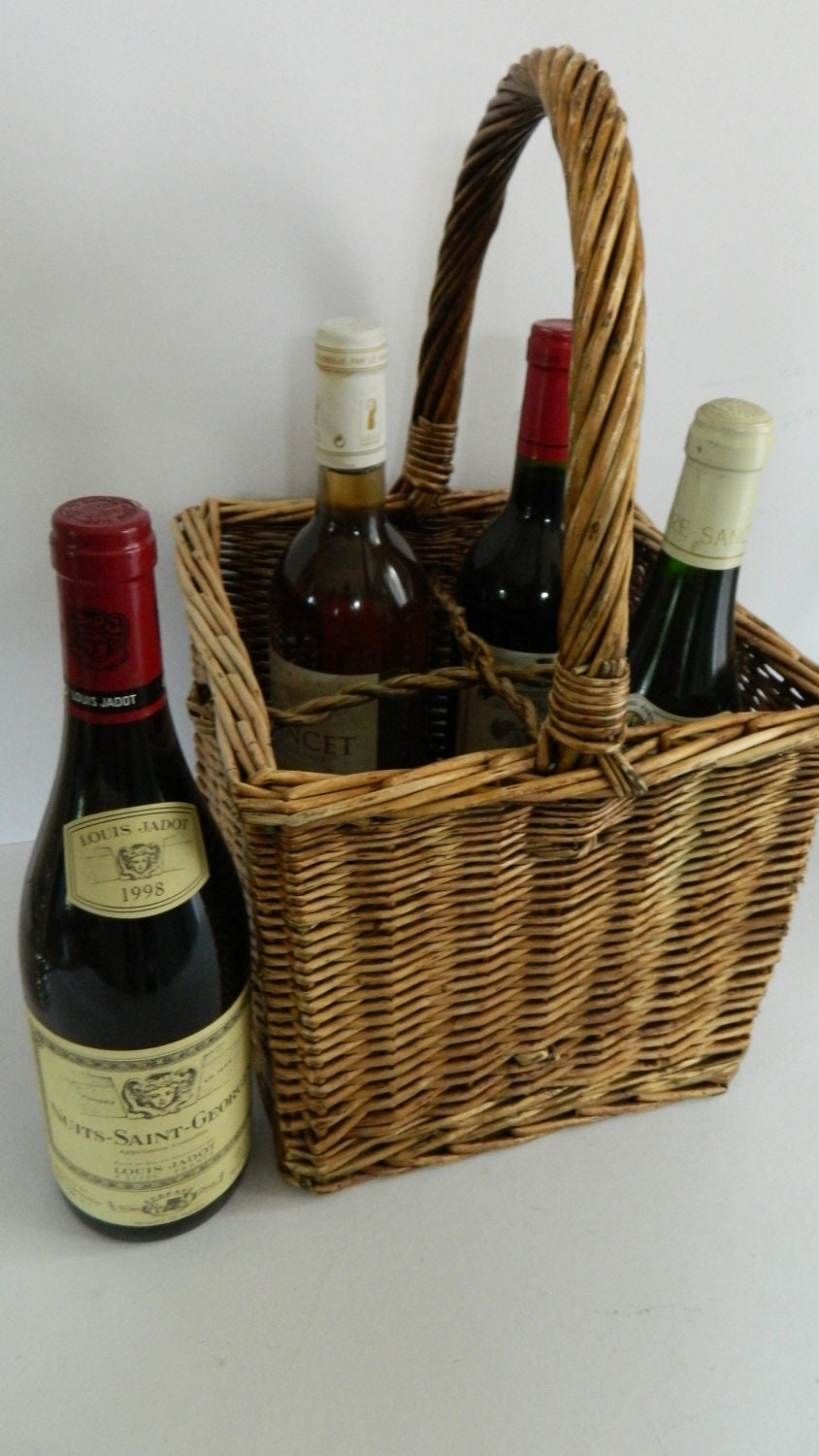 Vintage French Wine/Bottle/Champagne Basket - susanvaillant