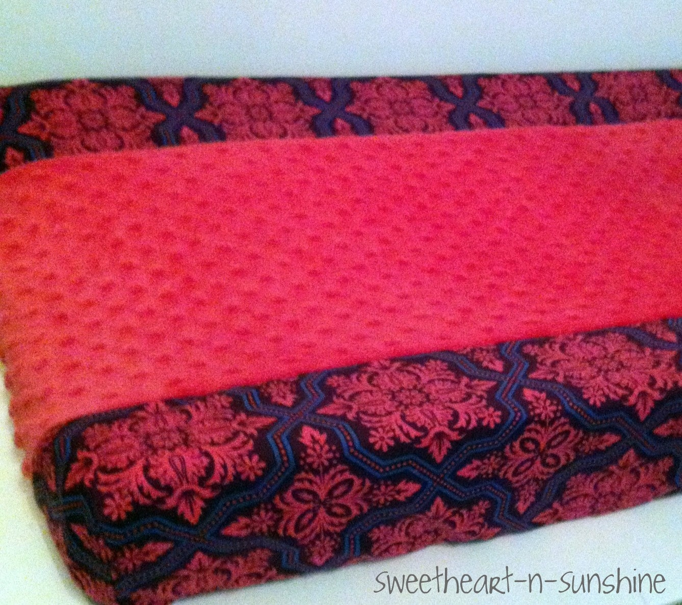 CUSTOM Two-toned Contoured Changing Pad Cover in YOUR CHOICE of designer cotton and minky dot fabrics