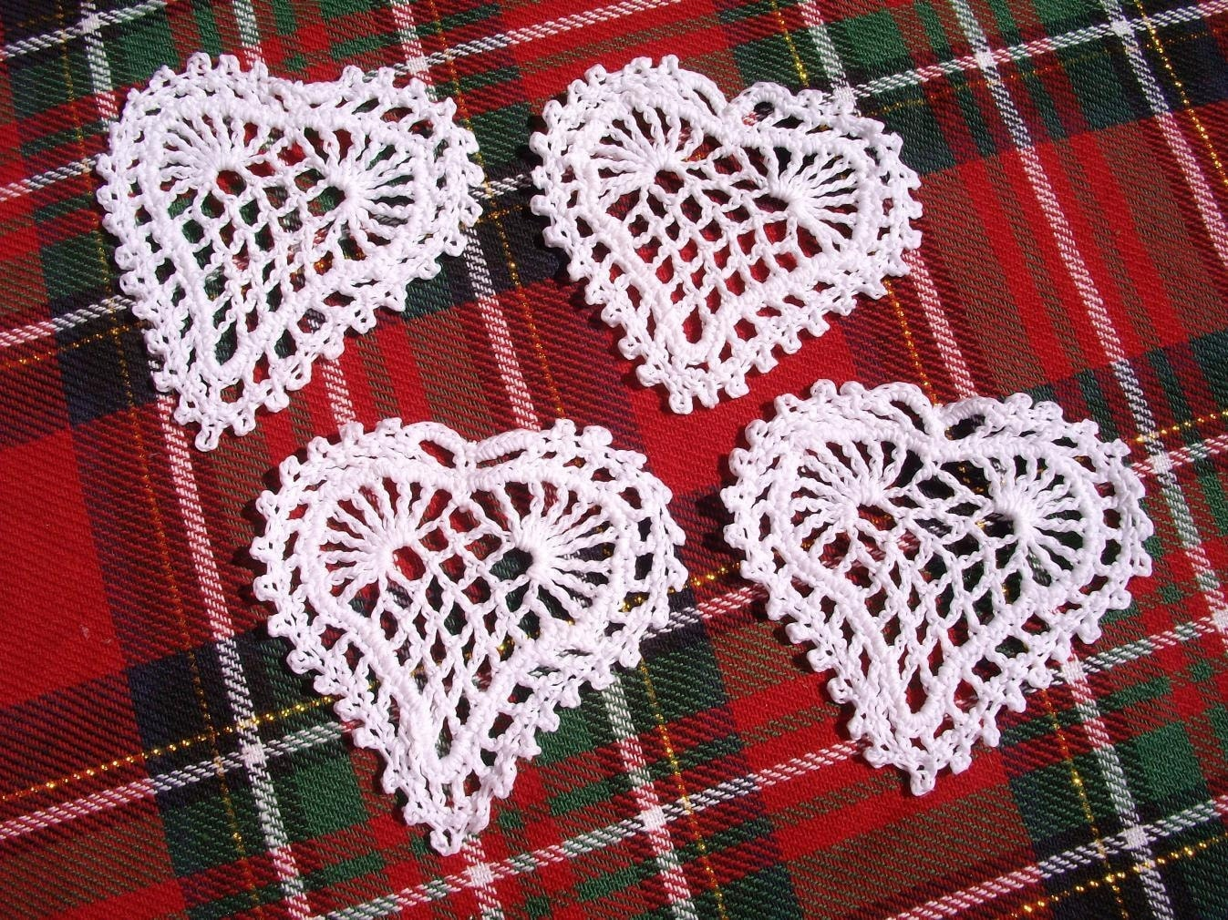 4 Plain Crochet Hearts For Decorating