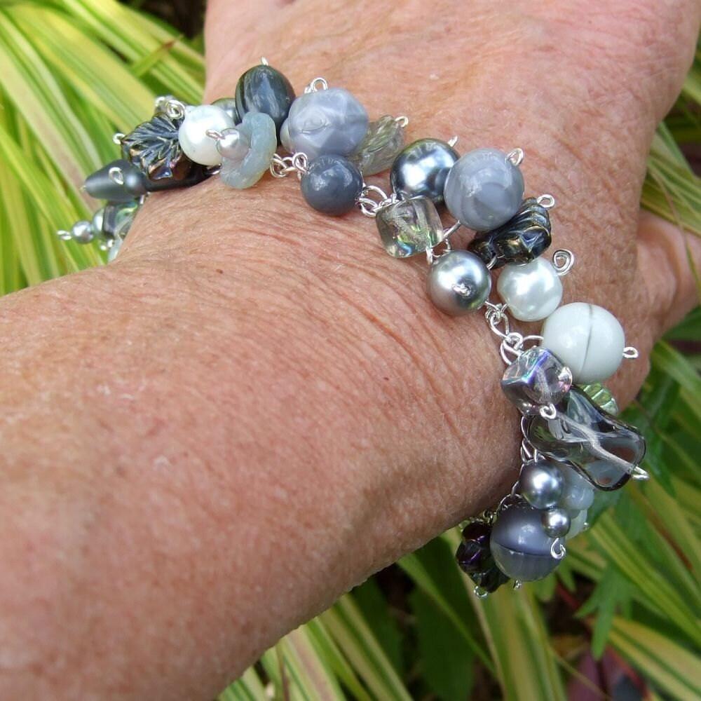 Grey Glass Bling Bracelet