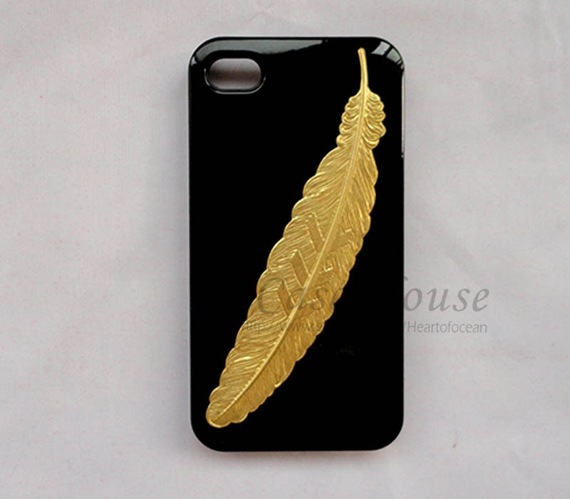 iPhone 4 Case,iPhone 4 cover with Golden Feather,black  Iphone Case,New Hard Fitted Case For iphone 4 & iphone 4S,4G