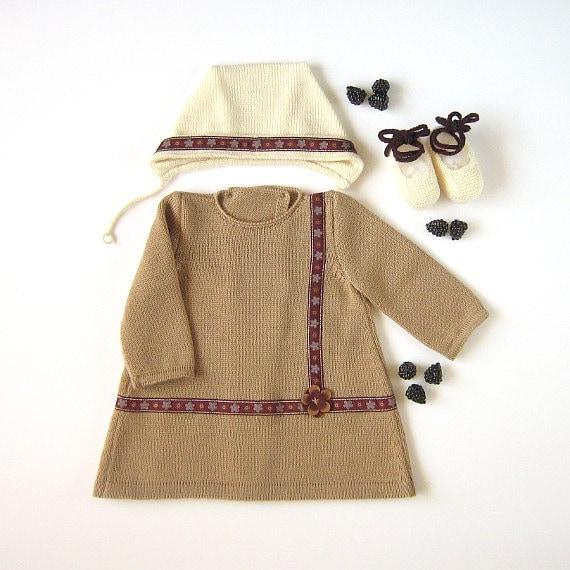 دوست داشتنی لباس بافتنی کودک مجموعه ای با نقوش و تصاویر بر روی پارچه روبان