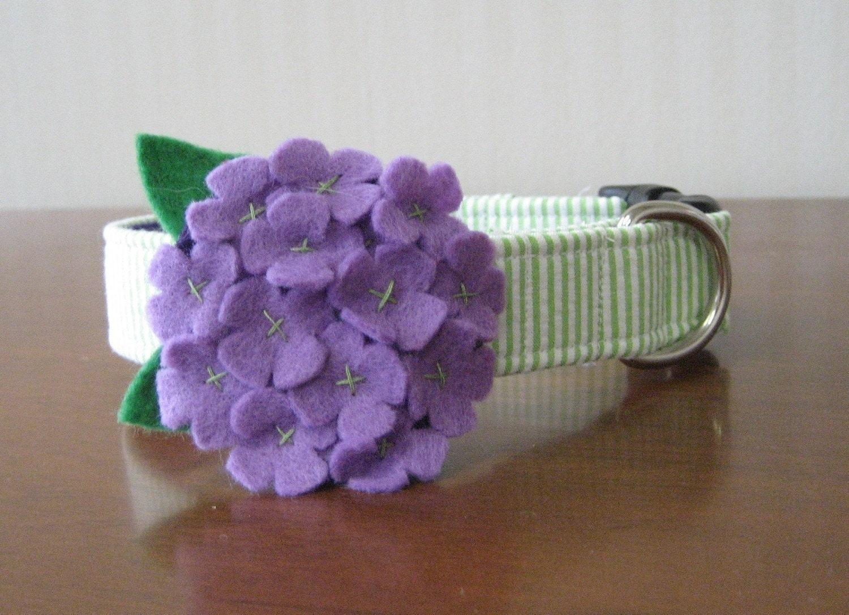 Hydrangea Seersucker Custom Flower Dog Collar
