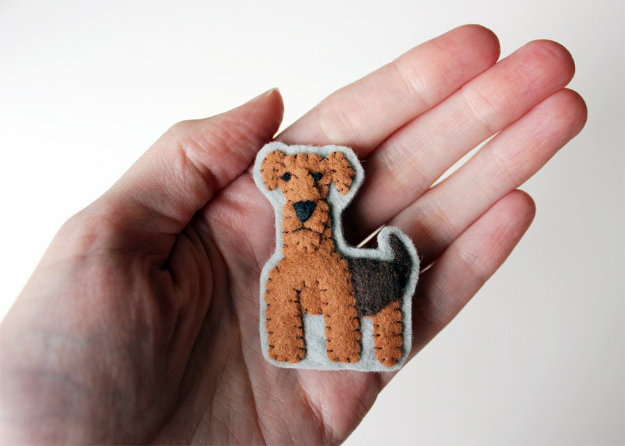 RESERVED - Airedale Terrier Dog Brooch Felt Pin - Alastair