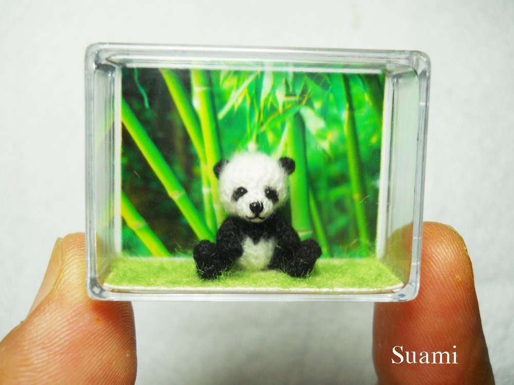 Tiny Panda Bear - Micro Crochet Mohair Panda 0.8 Inch - Made To Order