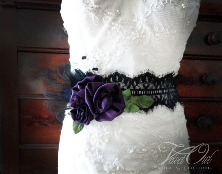 Genevieve Bridal sash deep egg plant purple peacock black lace bridal belt