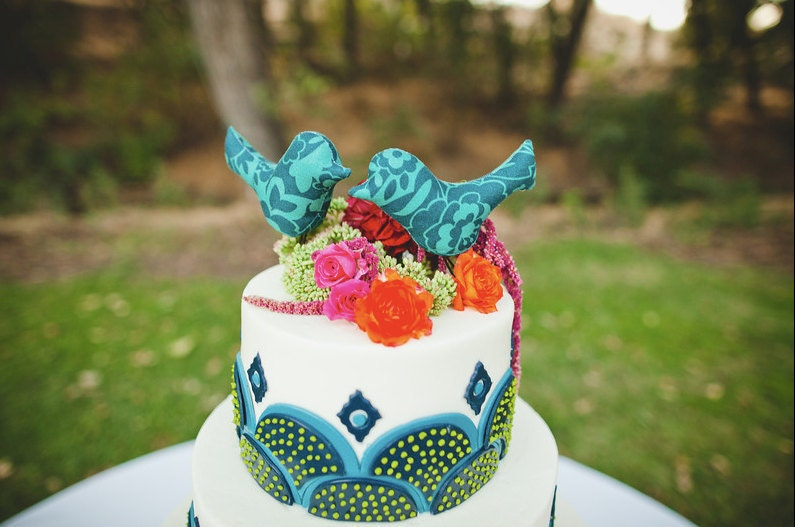 Floral Robin 39s Egg Blue and Teal Love Birds Wedding Cake Toppers and Home