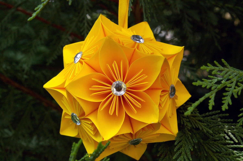 Flor bola kusudama, ornamento papel