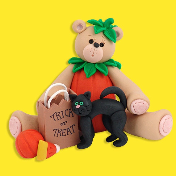 Belly Bear in Pumpkin Sut / Costume HANDMADE POLYMER CLAY Personalized Halloween Ornament - PersonalizedOrnament