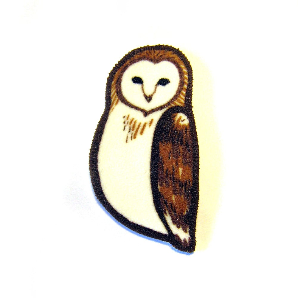 Barn Owl Brooch Pin Shrinky Plastic - zyzanna