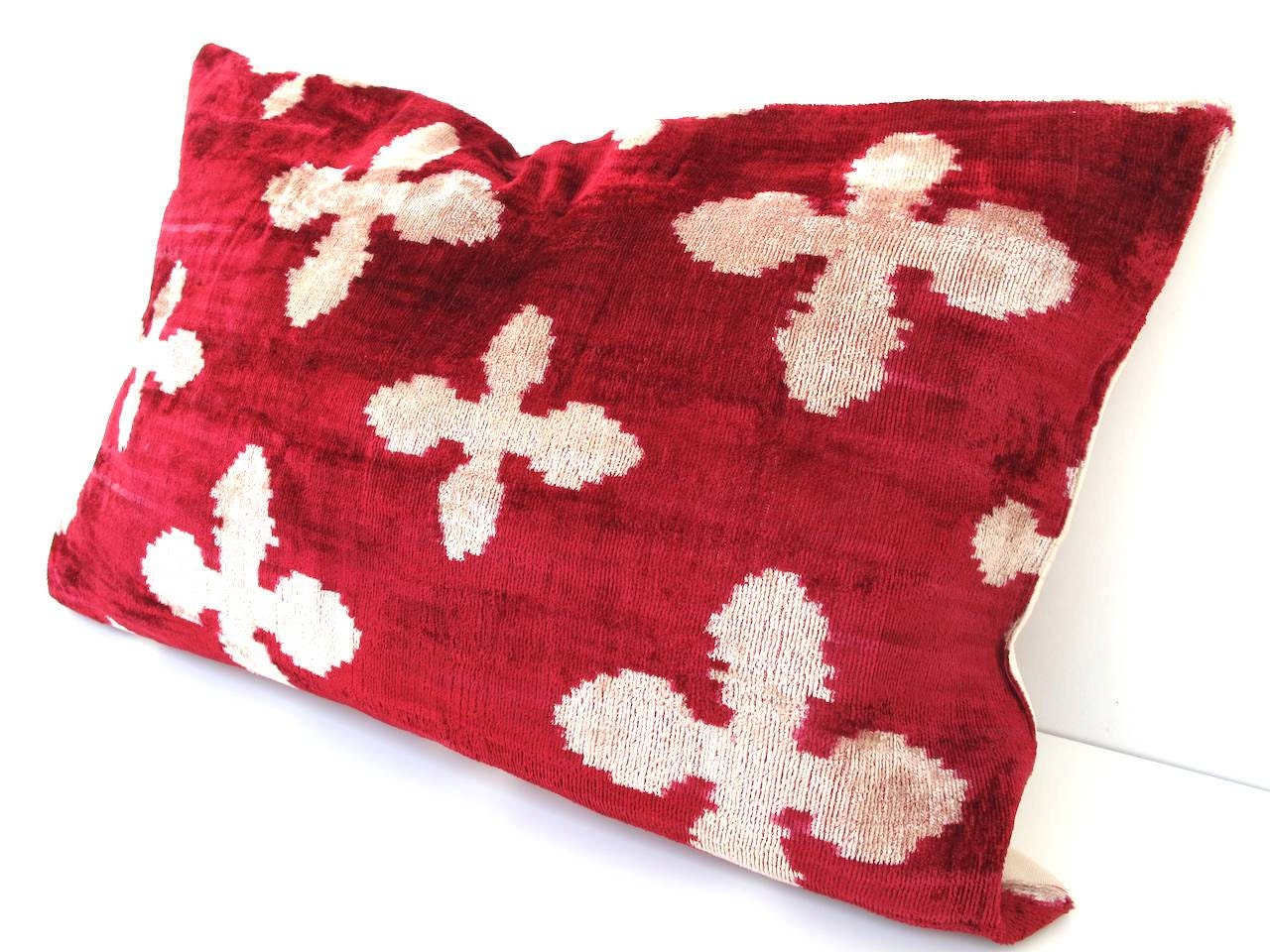 Decorative Turkish Ikat Throw Pillow Cover by DivanCushu : Handwoven VELVET IKAT Pillow, 16x24inch, Velvet Ikat Pillow, Dark Red, Beige