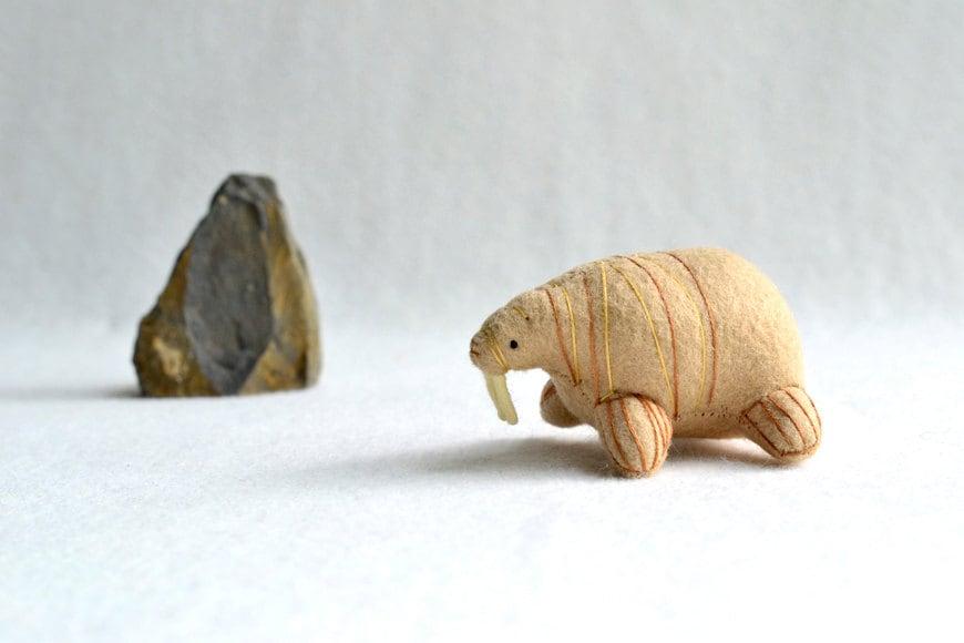 walrus - soft sculpture animal - felt plush - by mountroyalmint
