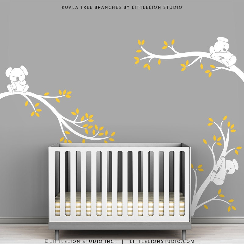 White Tree Wall Decal Baby Nursery Wall Decor by TheKoalaStore