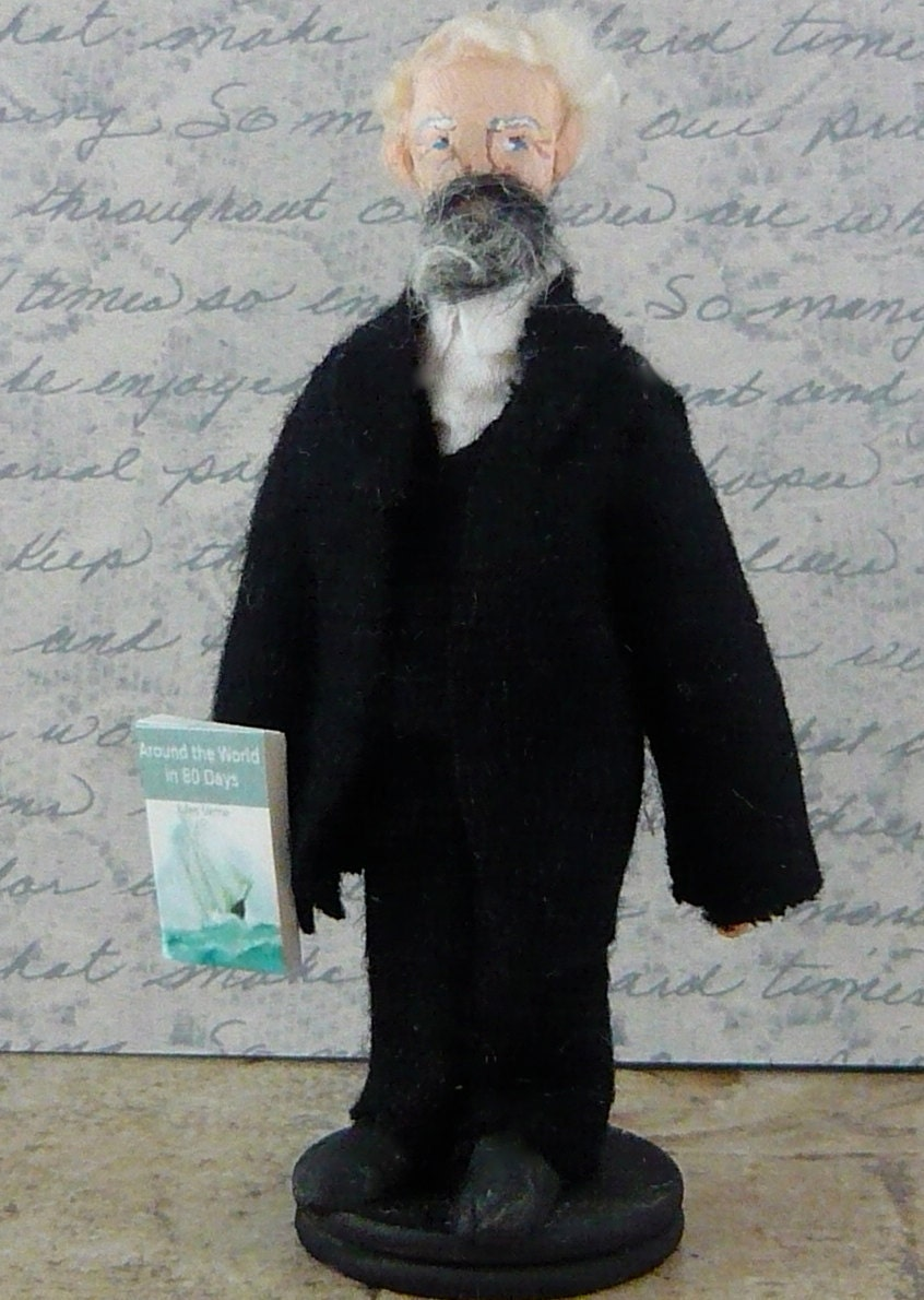 Jules Verne Doll Art Miniature Author of Around the World in 80 Days
