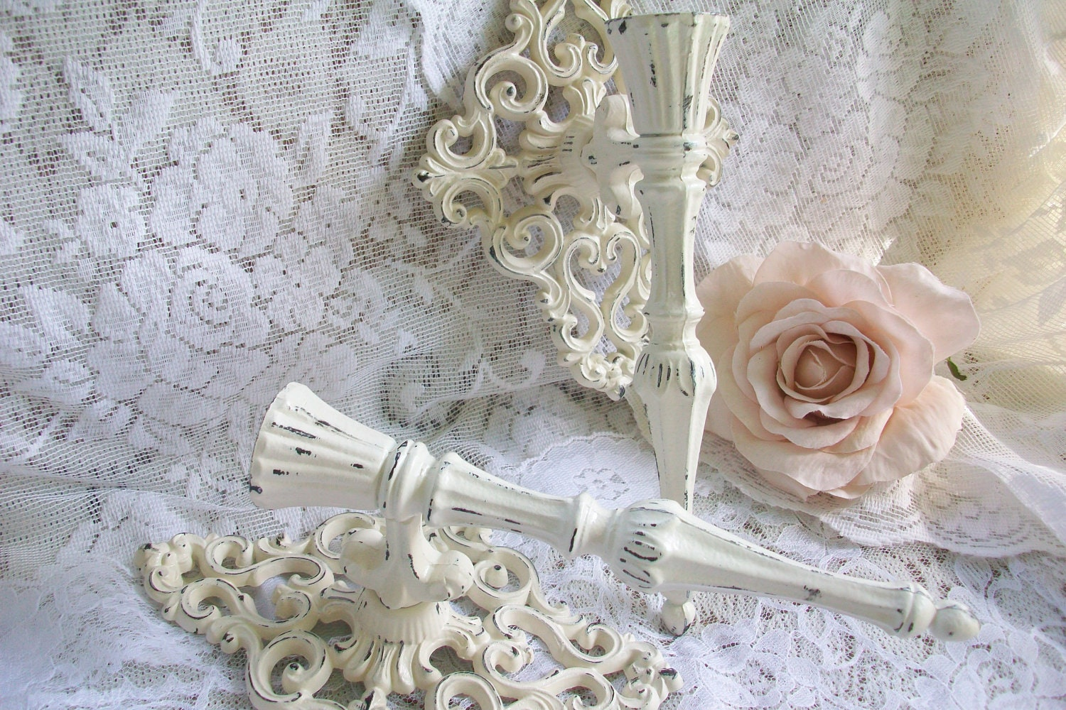 Wall Sconces Shabby Chic : Shabby Chic Decor, Creamy White Sconces, Vintage Candle Wall Sconce S?